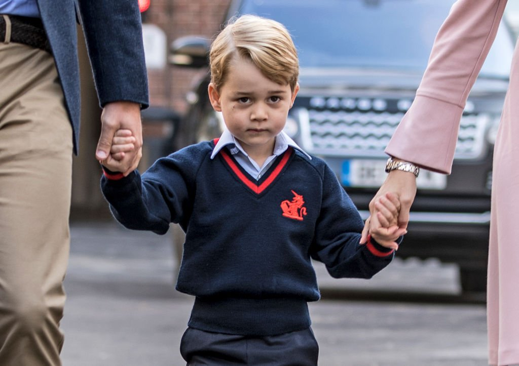 Image Credit: Getty Images / Prince George of Cambridge arrives for his first day of school at Thomas's Battersea on September 7, 2017 in London, England.