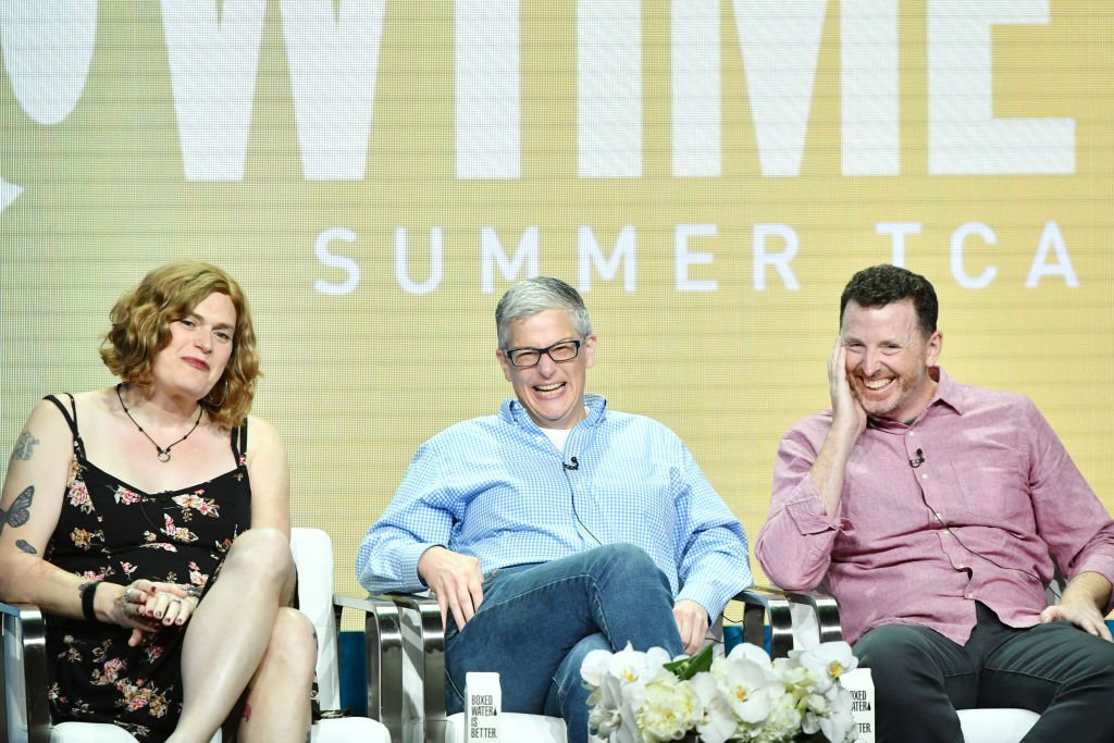Image Credits: Getty Images / Amy Sussman | (L-R) Lilly Wachowski, Abby McEnany and Tim Mason of Work In Progress speak during the Showtime segment of the 2019 Summer TCA Press Tour at The Beverly Hilton Hotel on August 2, 2019 in Beverly Hills, California.