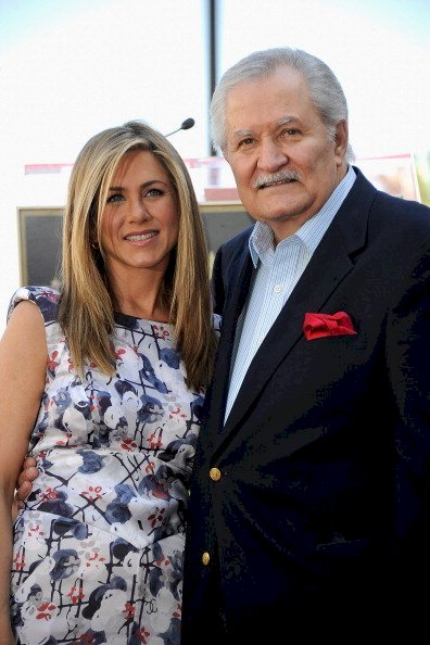 Image Credit: Getty Images/Frazer Harrison | Jennifer with her father, John Aniston at her Hollywood Walk of Fame Star ceremony