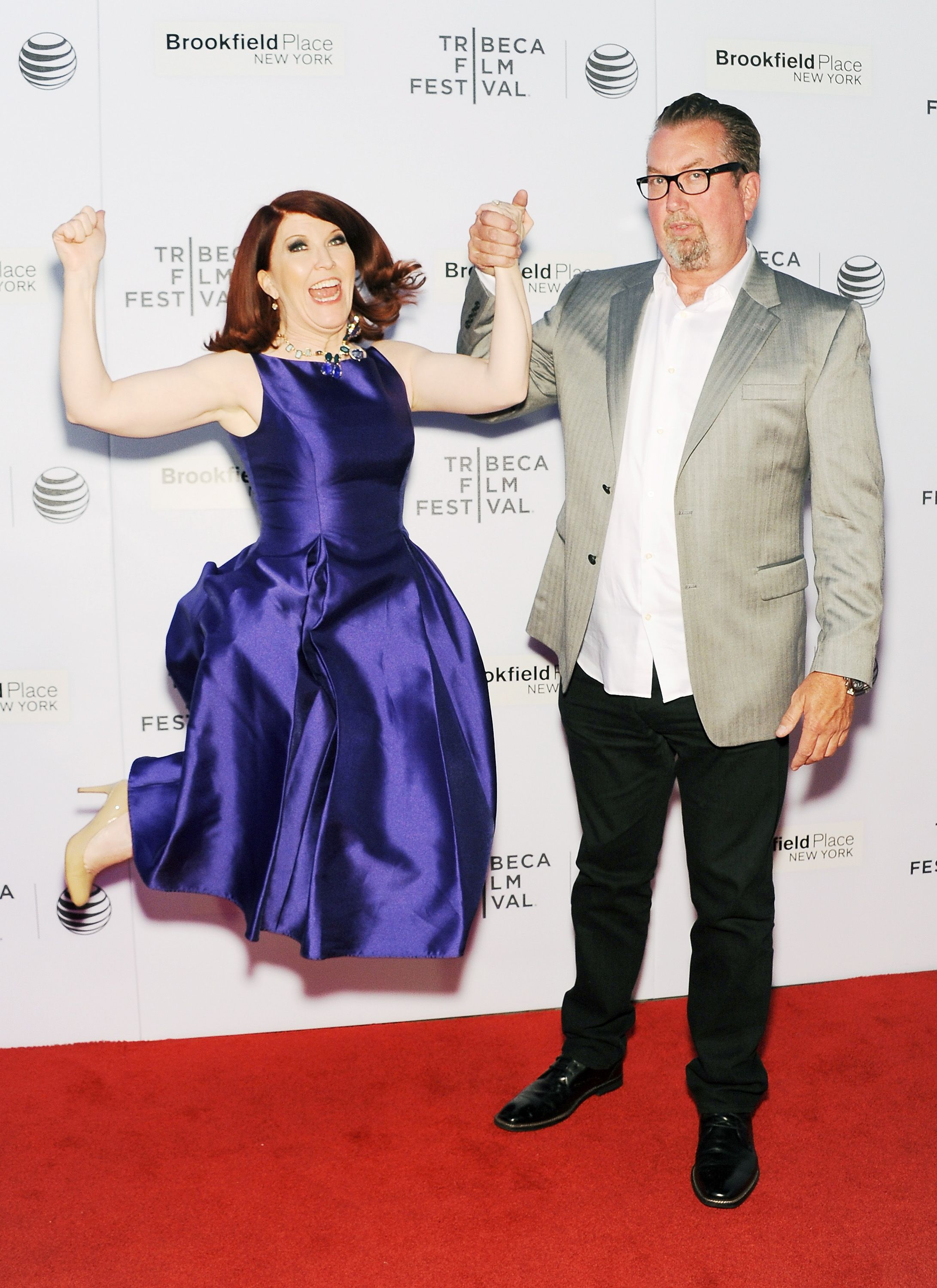 "Actress Kate Flannery and Chris Haston attend the premiere of ""Tenured"" during the 2015 Tribeca Film Festival / Getty Images"
