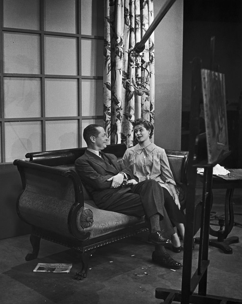 Image Credits: Getty Images / Archive Photos | American actor Robert Montgomery (1904 - 1981) on a film set with his daughter, actress Elizabeth Montgomery (1933 - 1995), circa 1955.