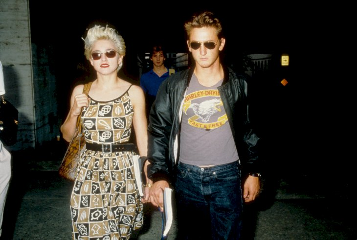 Madonna and Sean Penn leave rehearsals for their play 'Goose and Tom Tom' in August 1986 in New York City, New York. (Photo by Vinnie Zuffante/Michael Ochs Archives/Getty Images)