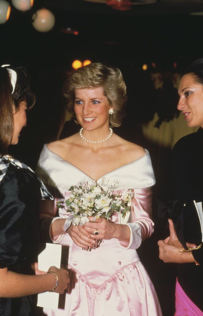 "Princess Diana at the gala premiere of ""Dancers"" / Getty Images"