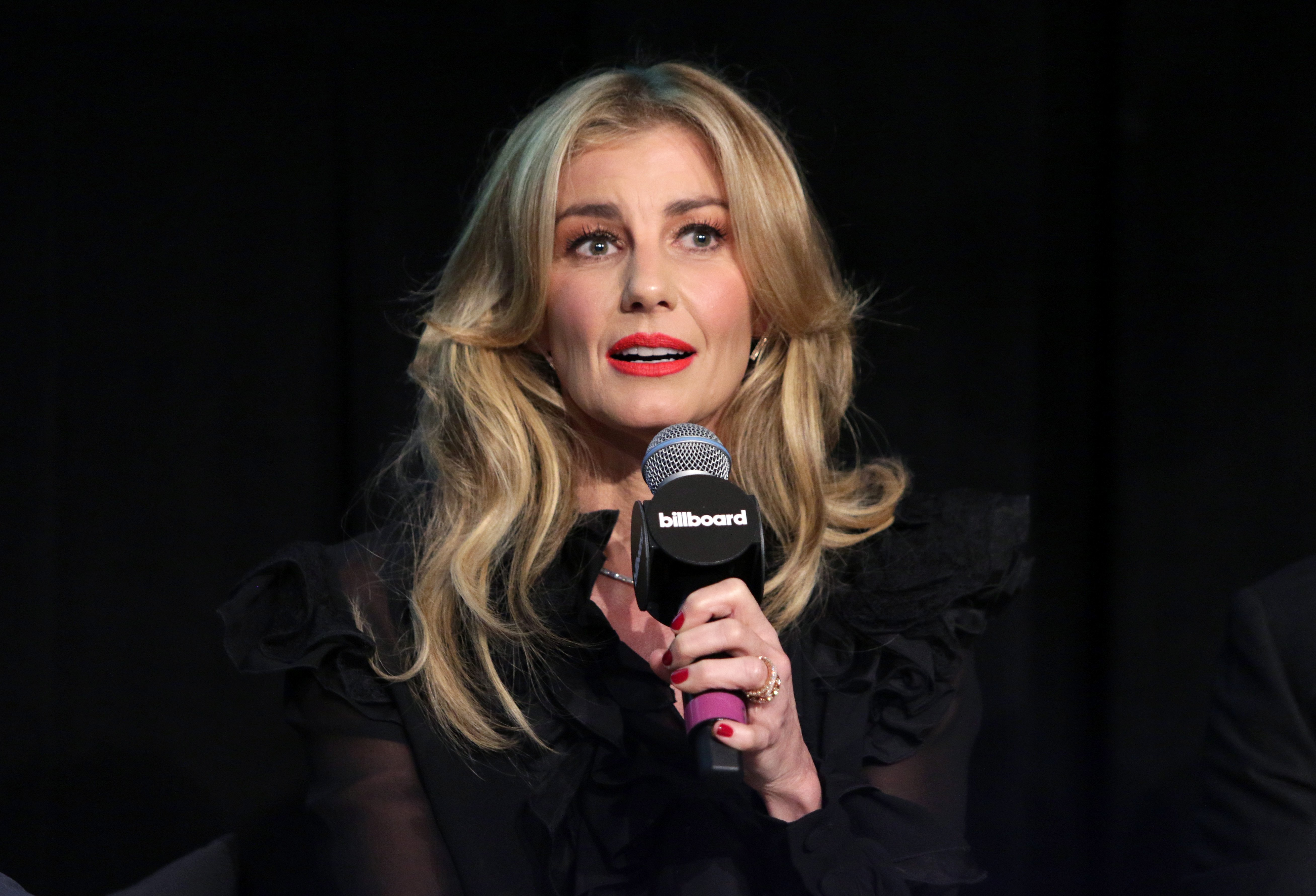 Image Credits: Getty Images / Jerritt Clark | Musician Faith Hill speaks during the Billboard 2017 Touring Conference - Legends Of Live: Tim McGraw And Faith Hill at Montage Beverly Hills on November 14, 2017 in Beverly Hills, California.