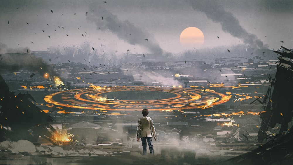 Post apocalypse scene showing the man standing in ruined city | Shutterstock