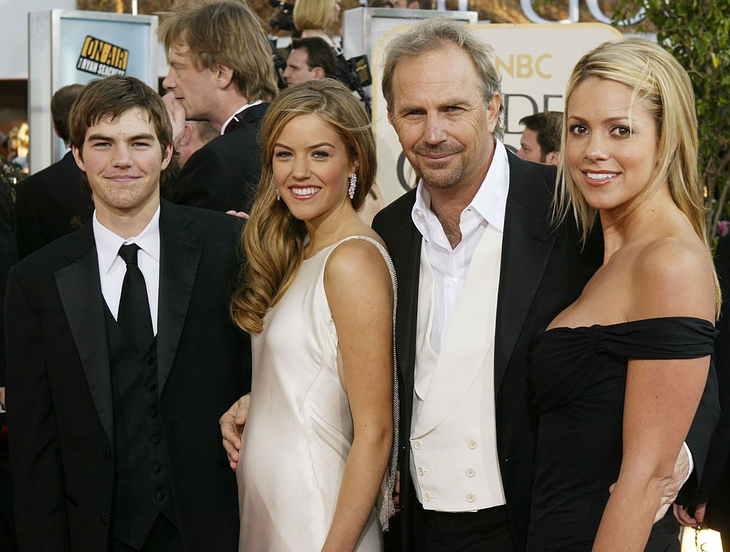 Image Source: Getty Images/Actor Kevin Coster (center right) arrives with his son Joe, daughter Lily and fiance Christine Baumgartner at the 61st Annual Golden Globe Awards at the Beverly Hilton Hotel on January 25, 2004 in Beverly Hills, California