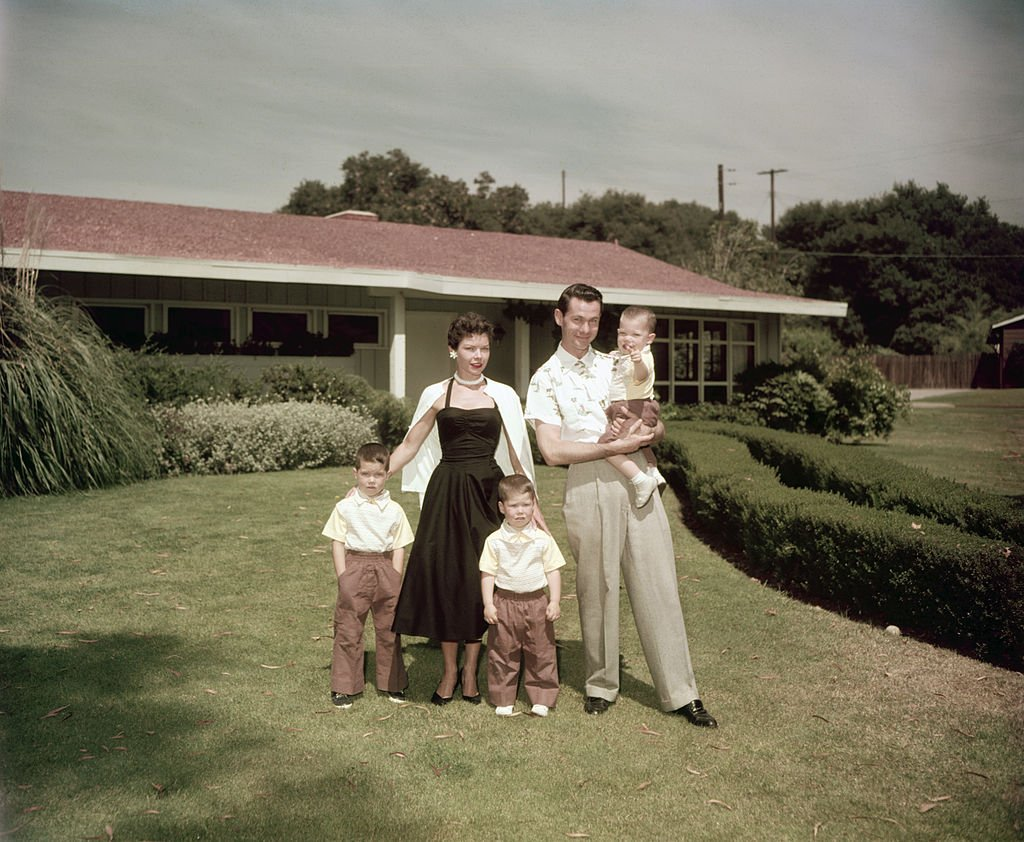 Image Credits: Getty Images / Archive Photos | American television host and comedian Johnny Carson (1925 - 2005) with his first wife Jody Wolcott and their sons (left to right) Christopher, Richard (1952 - 1991)and Cory at their home in Encino, California, circa 1955.