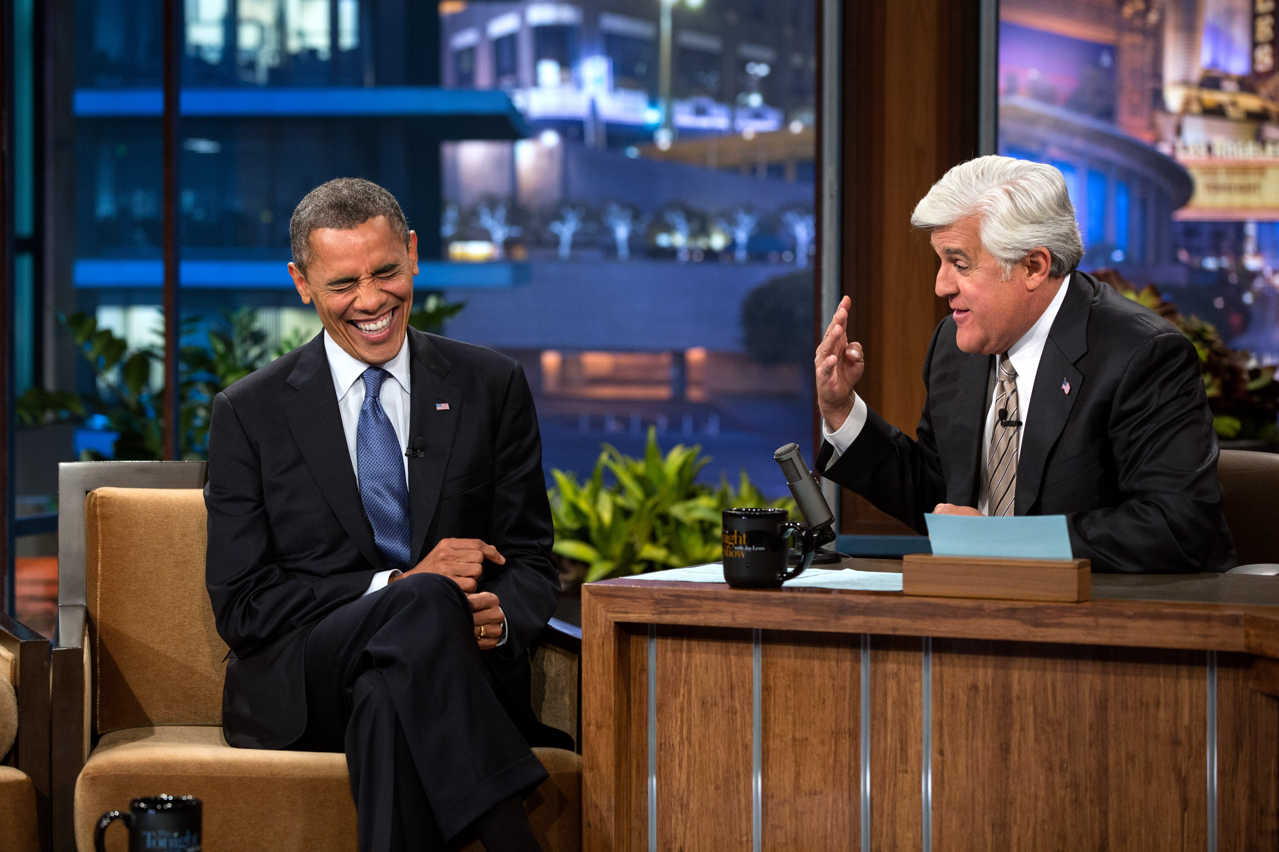 Barack Obama and Jay Leno on the Tonight's Show Image Source: Wikimedia Commons