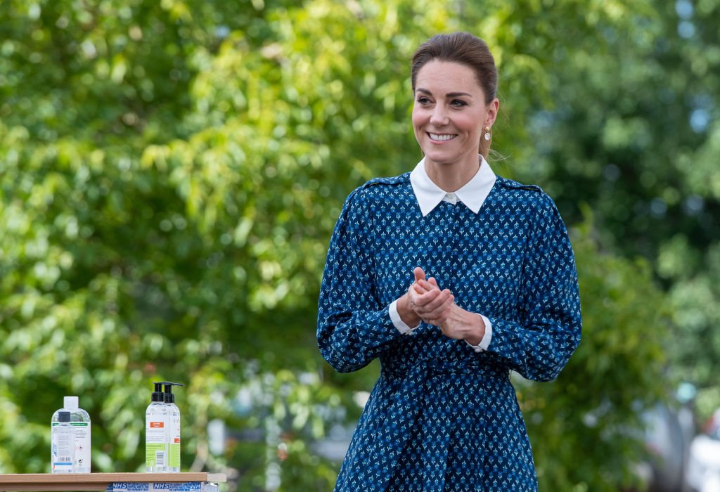 Image Credit: Getty Images/WPA Pool   Kate Middleton, the Duchess of Cambridge smiles for the press.