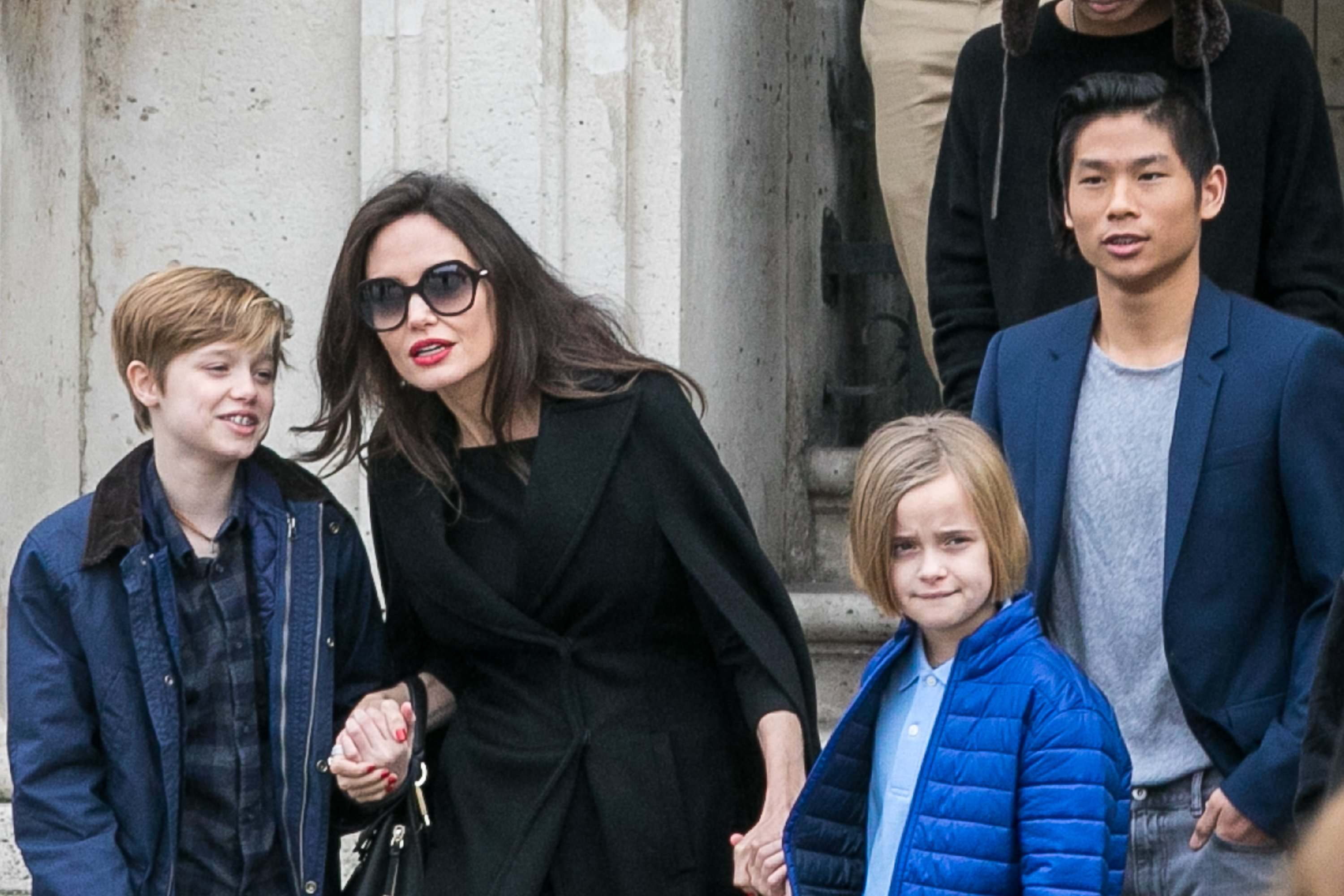 Image Credit: Getty Images/GC Images/Marc Piasecki | Jolie and her kids leaving theLouvre