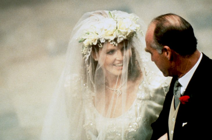 Image Credit: Getty Images / Sarah Ferguson with her father on her wedding day.
