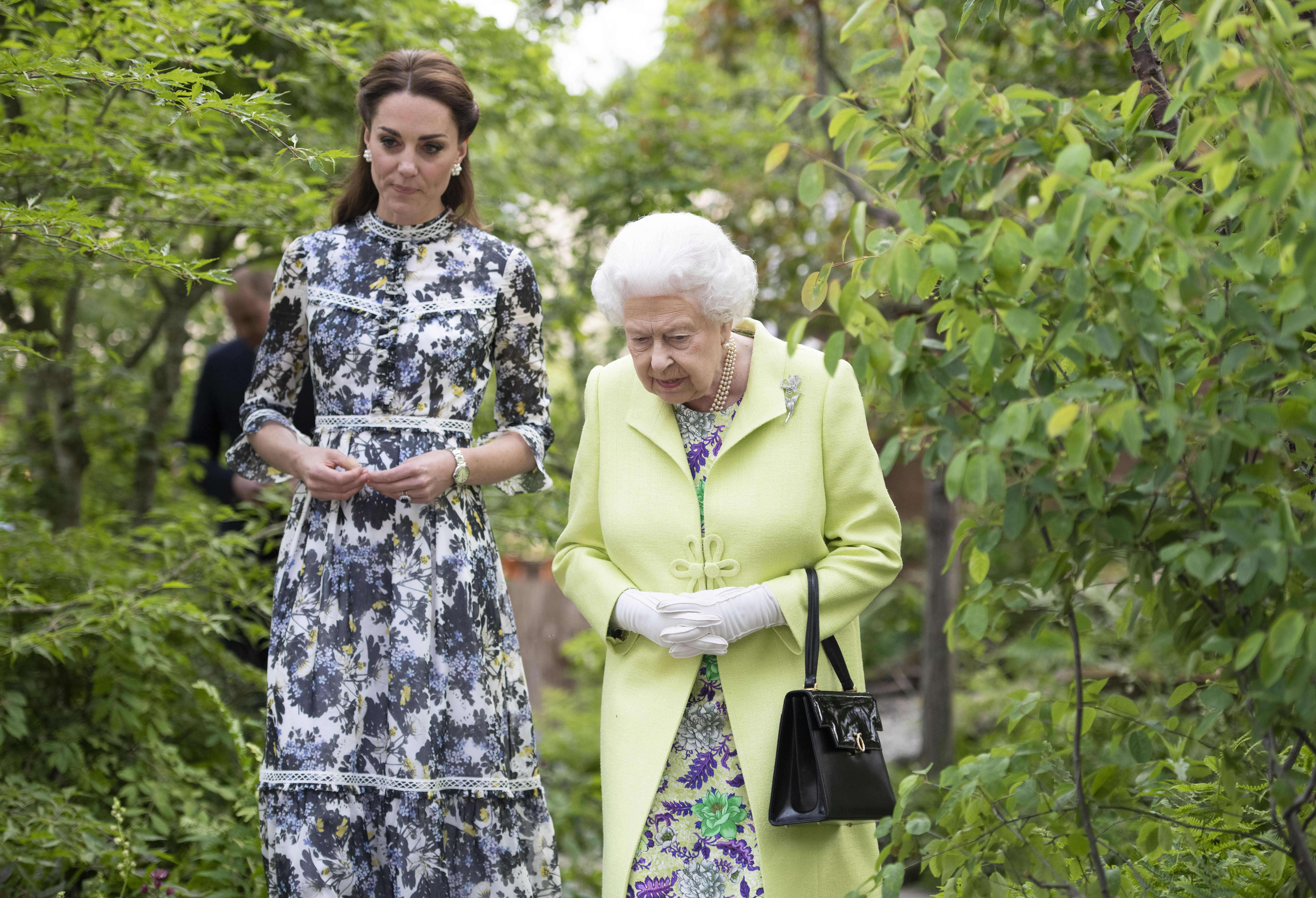Queen Elizabeth II and Catherine, Duchess of Cambridge at the RHS Chelsea Flower Show 2019 press day at Chelsea Flower Show on May 20, 2019 in London, England.