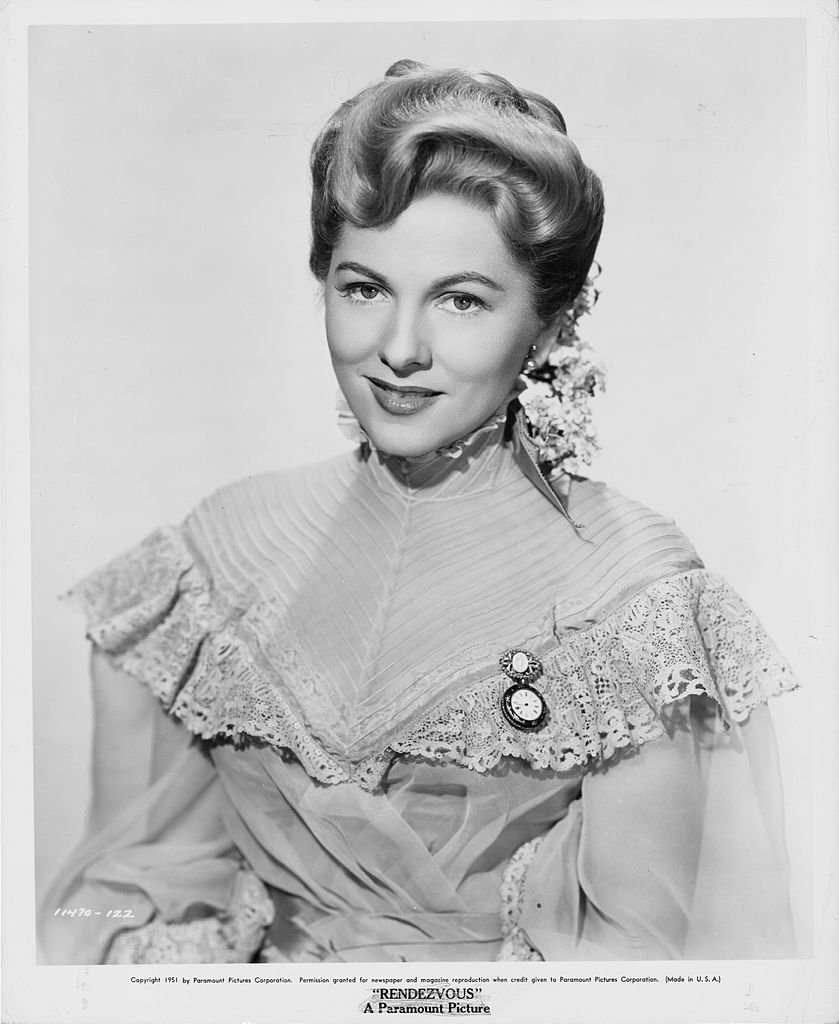 Image Source: Getty Images/Promotional photo of Joan Fontaine in a period dress circa 1951