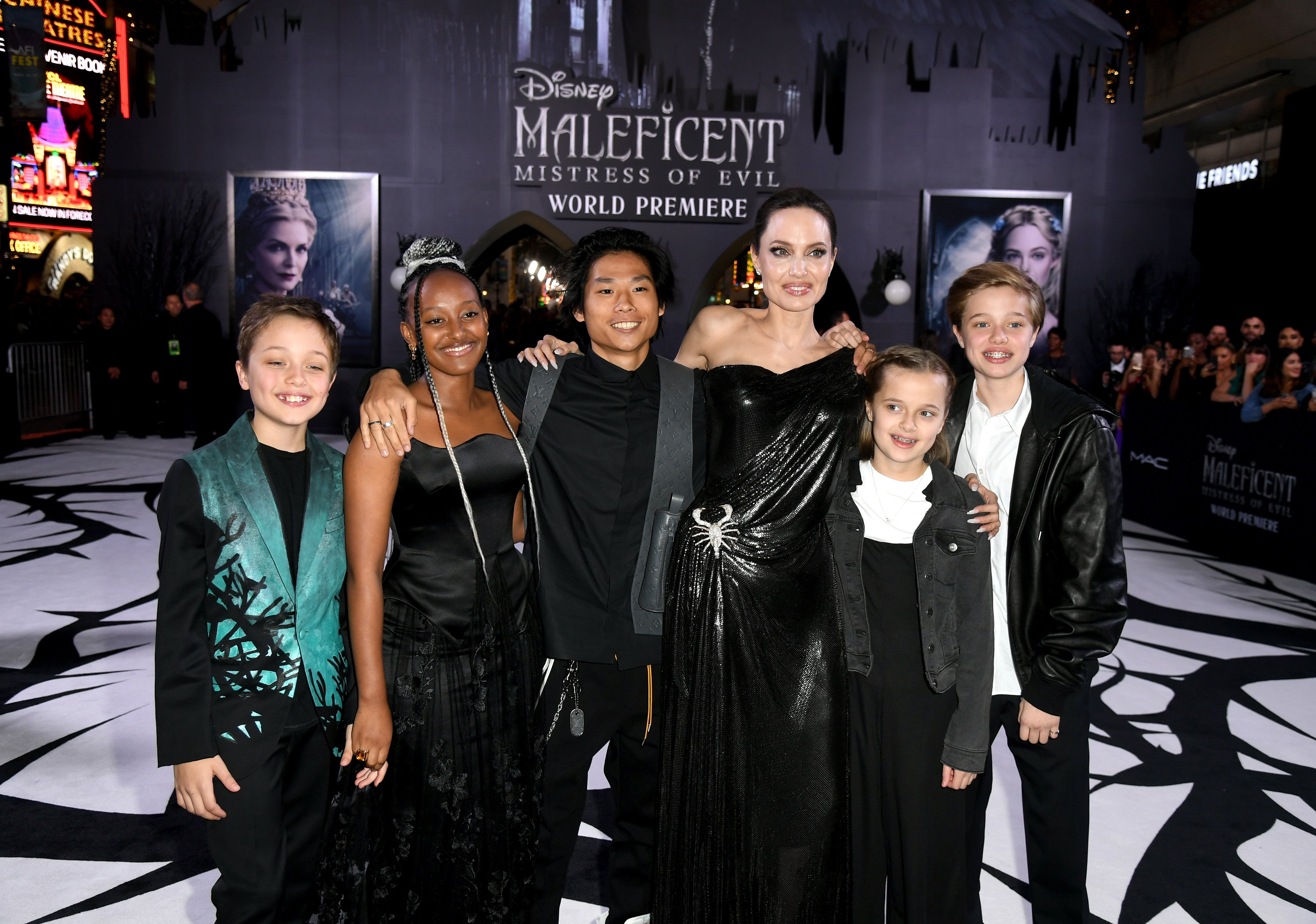 Image Source: Getty Images/Her children supporting Jolie in her movie Maleficent