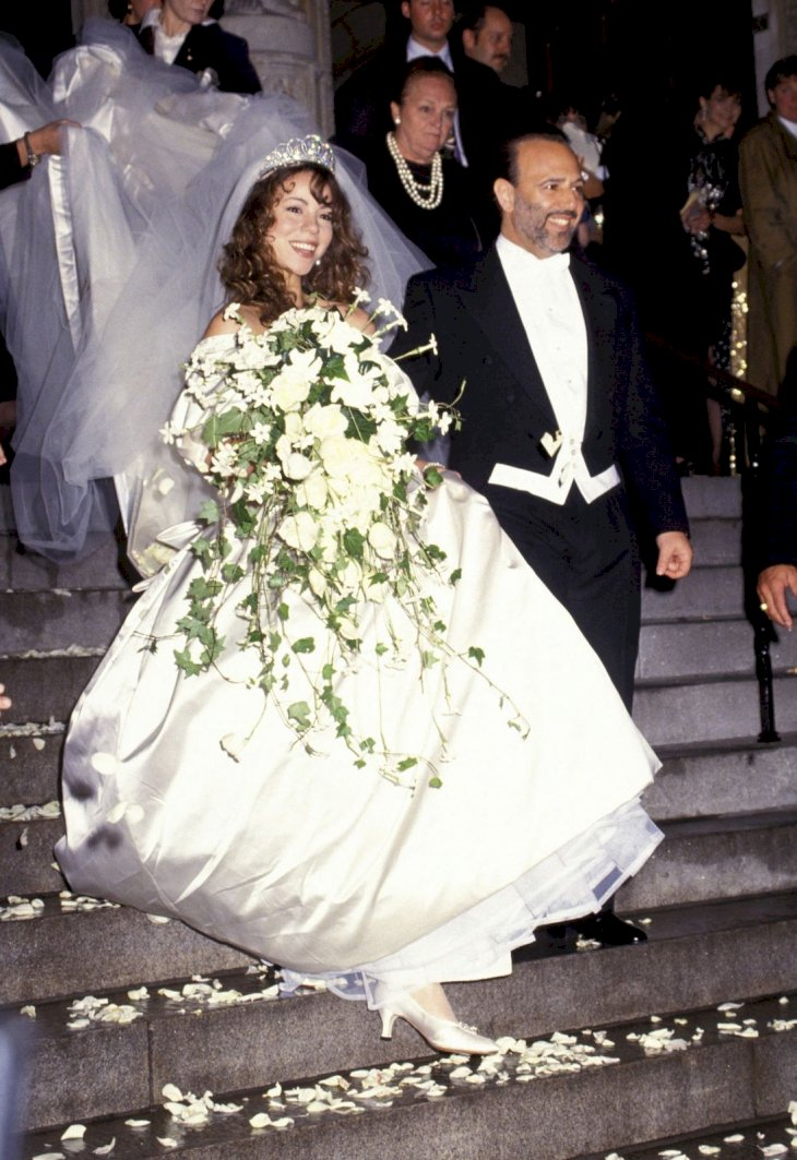 Mariah Carey and Tommy Mottola on their wedding day/Photo:Getty Images
