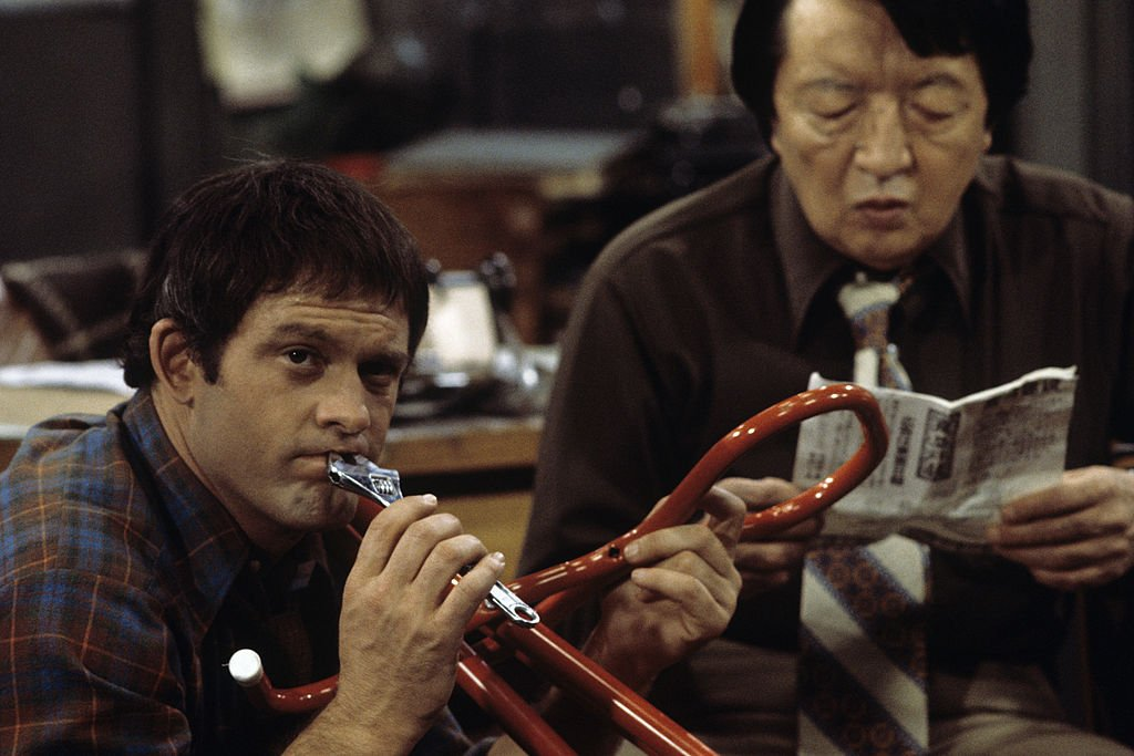 Image Credit: Getty Images / Max Gail, Jack Soo on set for Barney Miller.