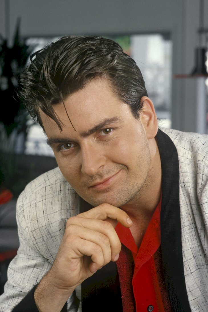 Image Credit: Getty Images / Charlie Sheen in front of the camera.