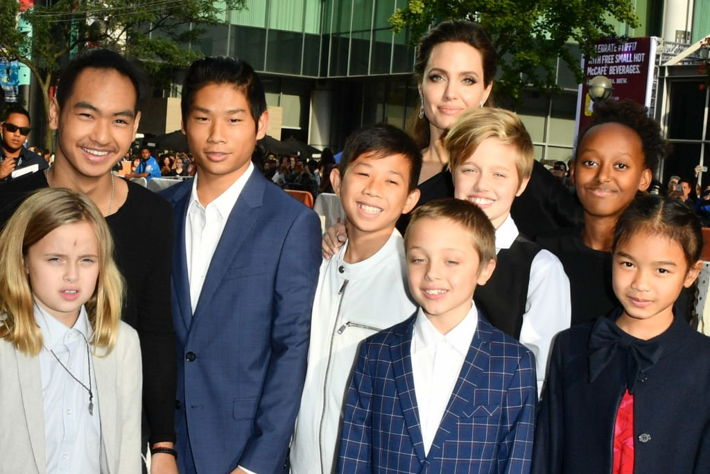 "Image Credit: Getty Images/WireImage/George Pimentel | Jolie with her children at the ""First They Killed My Father"" premier"