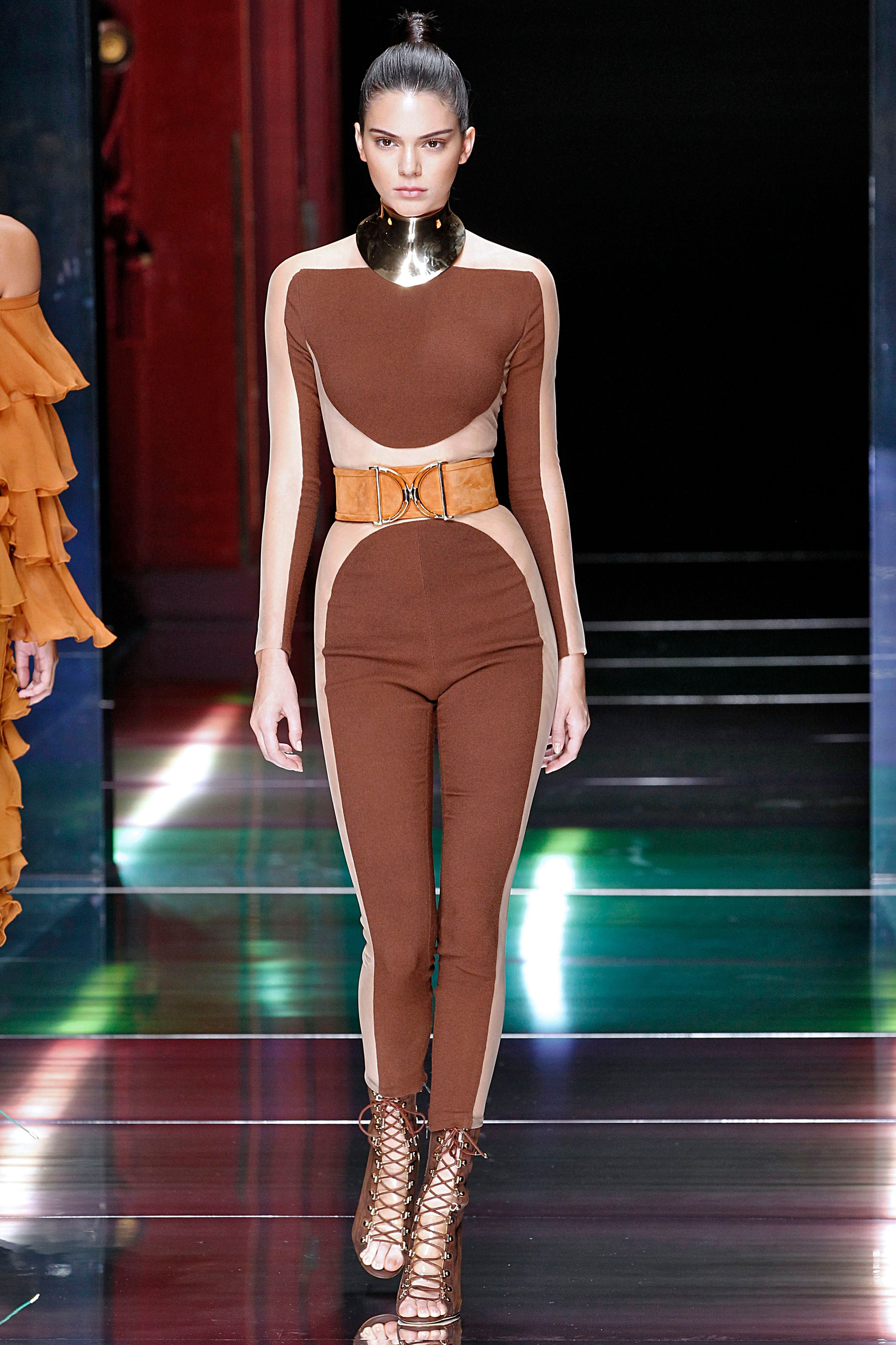 Kendall Jenner walks the runway during the Balmain Ready to Wear show as part of the Paris Fashion Week / Getty Images