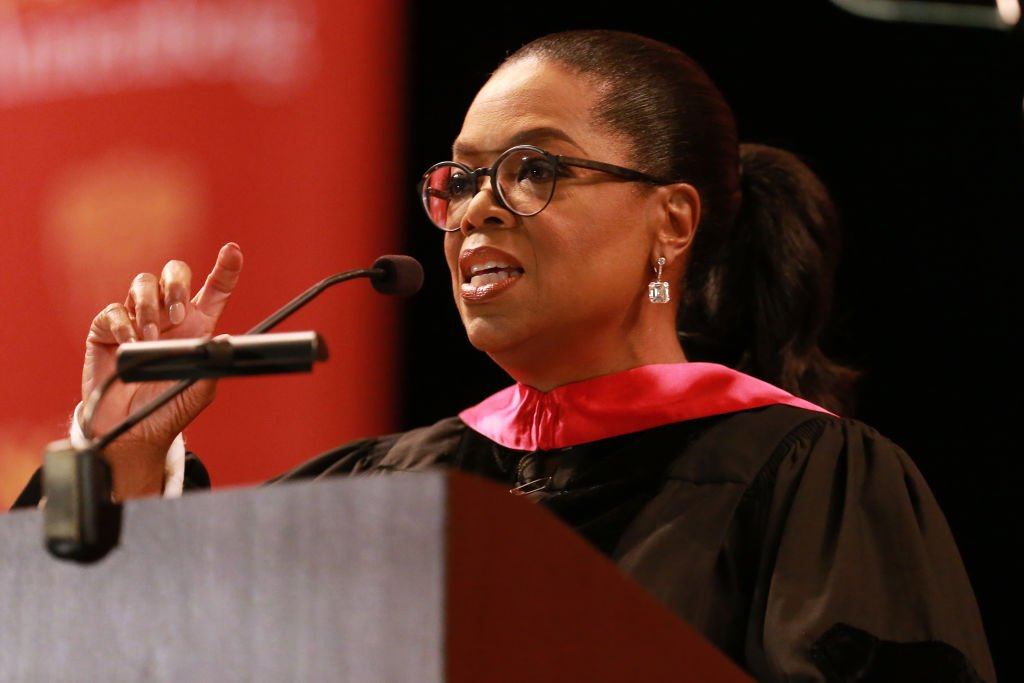 Image Credit: Getty Images / Media producer Oprah Winfrey addresses The USC Annenberg School For Communication And Journalism Celebrates Commencement at The Shrine Auditorium on May 11, 2018.