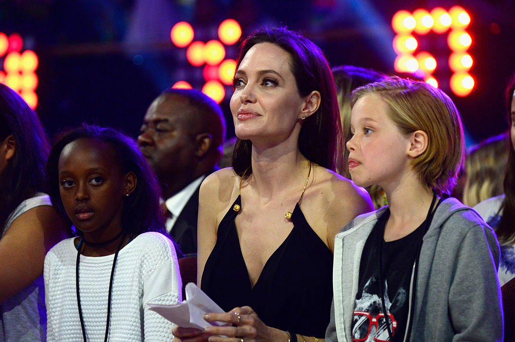 Image Source: Getty Images/Frazer Harrison/KCA2015/ Zahara Jolie-Pitt, actress Angelina Jolie and Shiloh Jolie-Pitt attend Nickelodeon's 28th Annual Kids' Choice Awards held at The Forum on March 28, 2015 in Inglewood, California