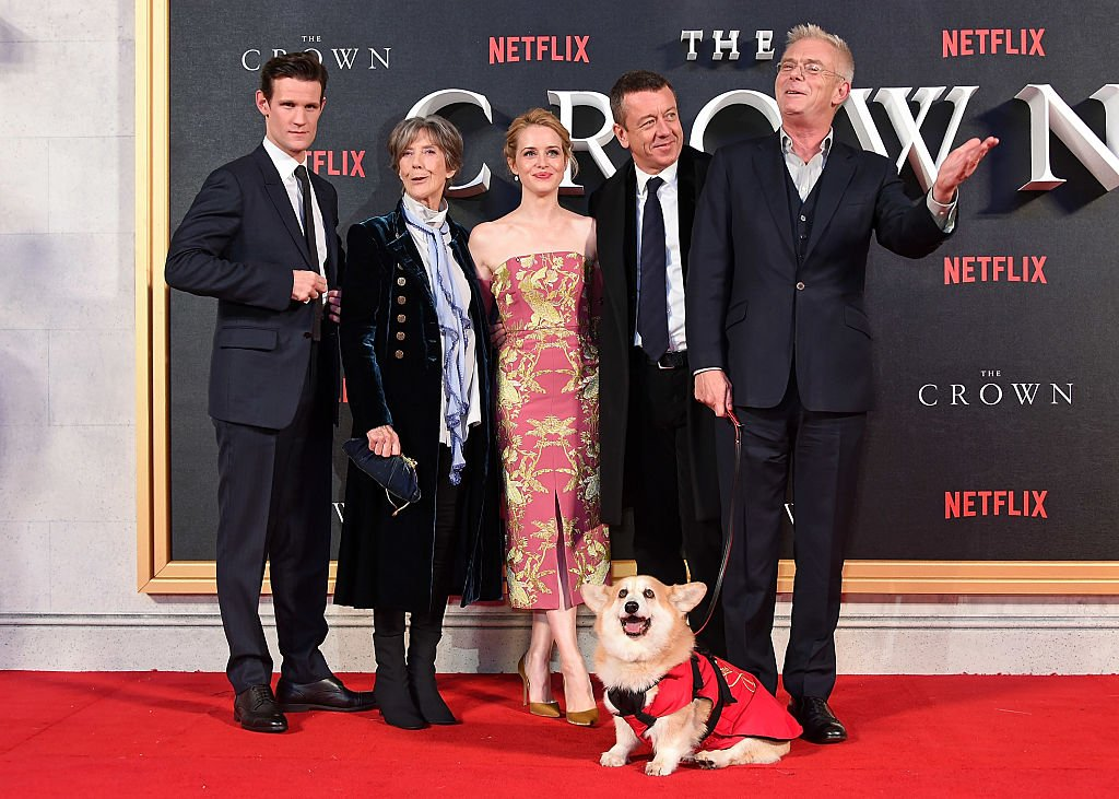 "Image Credits: Getty Images /  David M. Benett / WireImage | Matt Smith, Dame Eileen Atkins, Claire Foy, Peter Morgan and Stephen Daldry attend the World Premiere of new Netflix Original series ""The Crown"" at Odeon Leicester Square on November 1, 2016 in London, England."