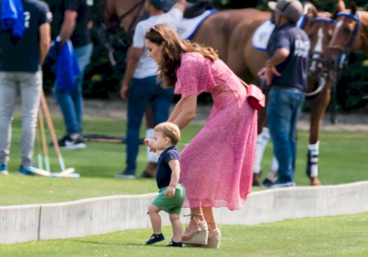 Image Credit: Getty Images / Catherine, Duchess of Cambridge and Prince Louis of Cambridge at Billingbear Polo Club on July 10, 2019.