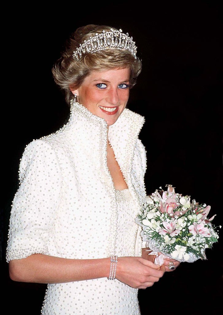 Image Credits: Getty Images/Tim Graham Photo Library/Tim Graham | Princess Diana all in white.