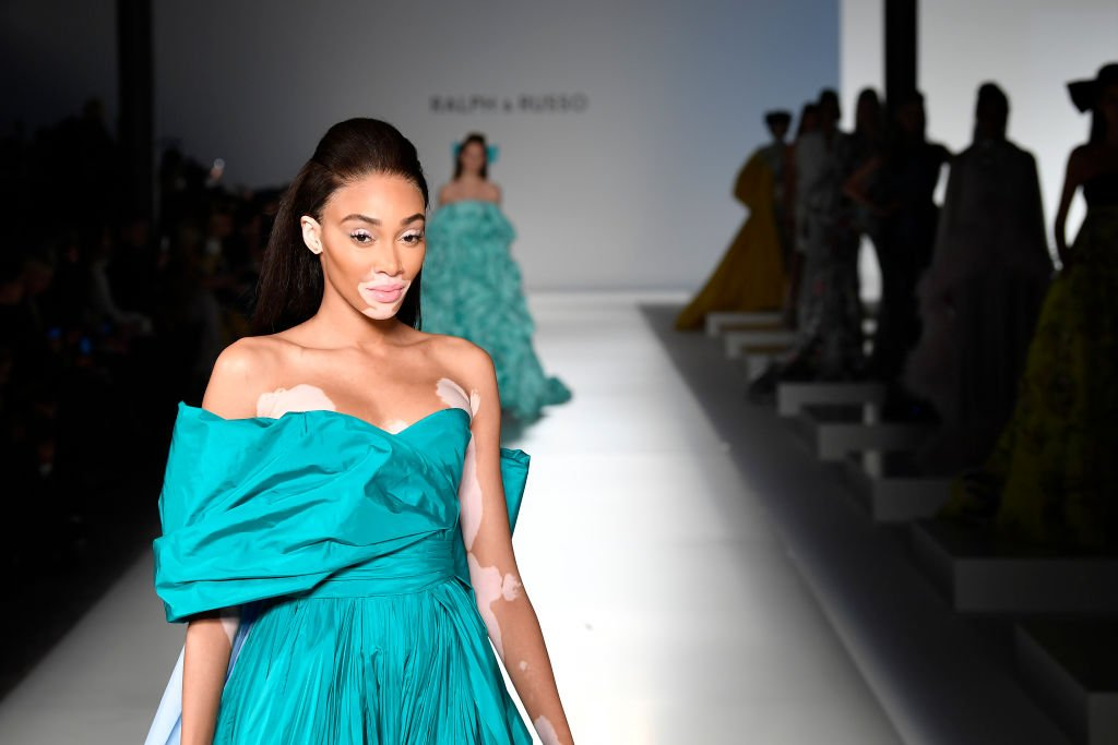Image Credit: Getty Images / Winnie Harlow walks the runway during the Ralph & Russo Haute Couture Spring/Summer 2020 show as part of Paris Fashion Week on January 20, 2020.
