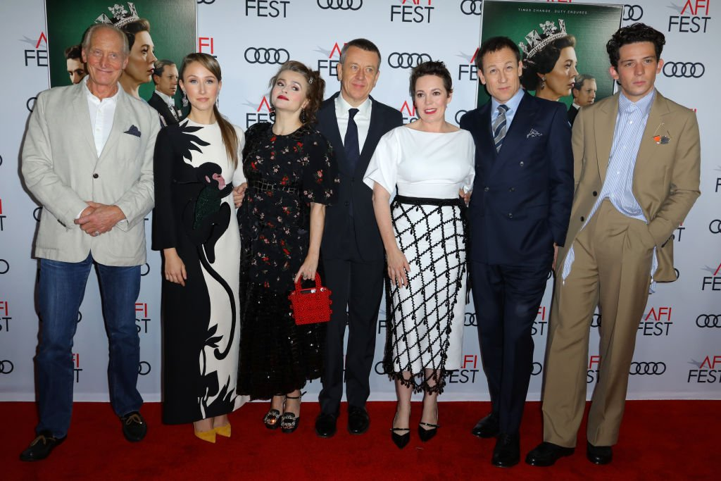 "Image Credits: Getty Images / JC Olivera / WireImage | Charles Dance, Erin Doherty, Helena Bonham Carter, Peter Morgan, Olivia Colman, Tobias Menzies and Josh O'Connor attends the ""The Crown"" premiere during AFI FEST 2019 Presented By Audi at TCL Chinese Theatre on November 16, 2019 in Hollywood, California."