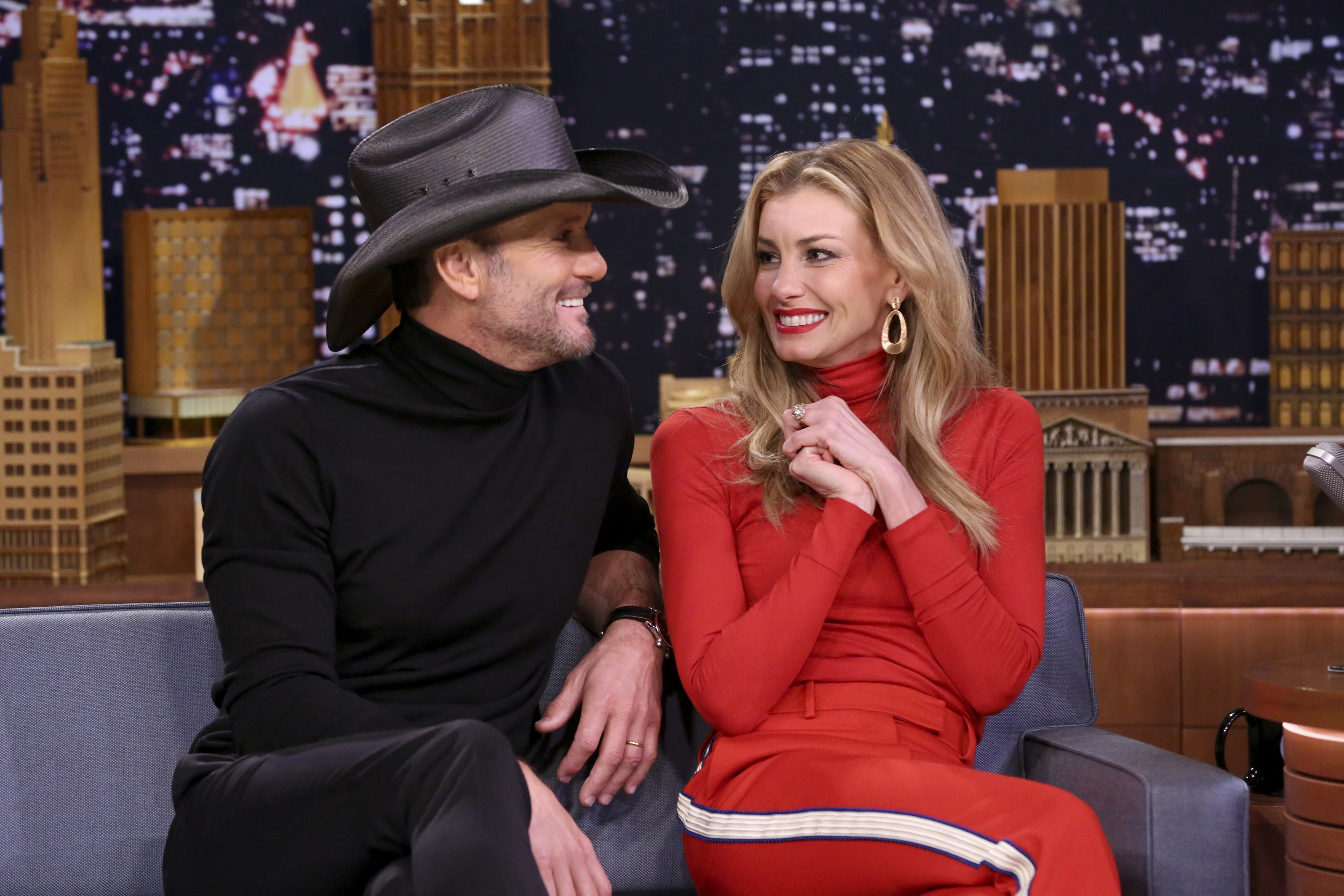 Image Credits: Getty Images / Andrew Lipovsky / NBCU Photo Bank / NBCUniversal  | Singers Tim McGraw and Faith Hill during an interview on November 16, 2017.