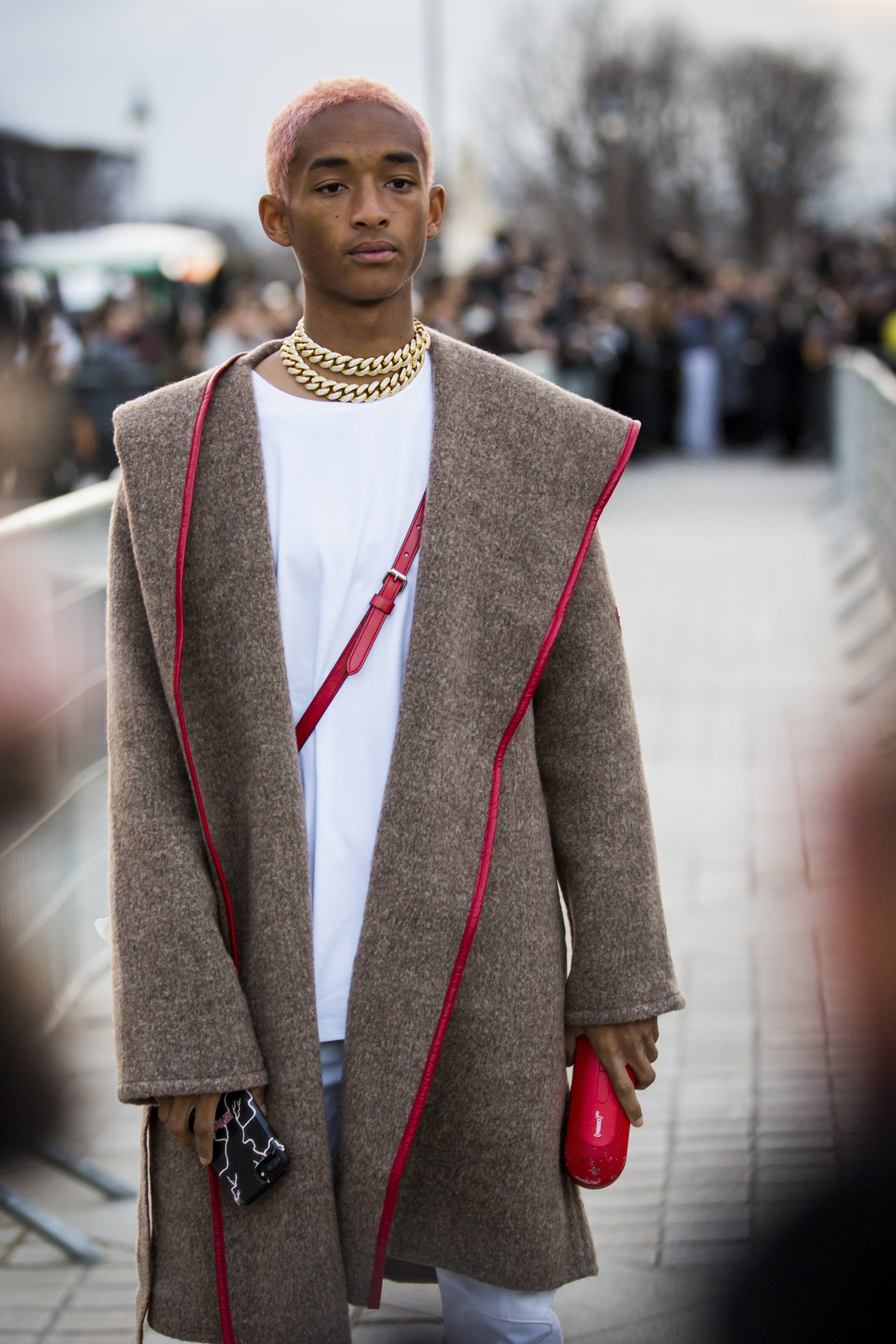 Image Credits: Getty Images / Claudio Lavenia | Jaden Smith, is seen in the streets of Paris before the Louis Vuitton show during Paris Fashion Week Womenswear Fall/Winter 2018/2019 on March 6, 2018 in Paris, France.