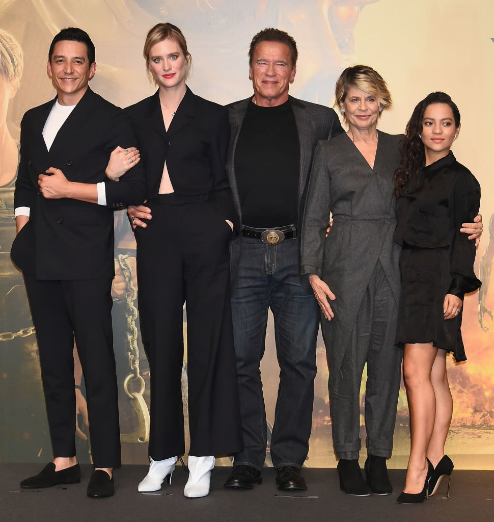 Image Credits: Getty Images / Jun Sato / WireImage | (L-R) Gabriel Luna, Mackenzie Davis, Arnold Schwarzenegger, Linda Hamilton and Natalia Reyes attend the press conference for the Japan premiere of 'Terminator: Dark Fate' on November 5, 2019 in Tokyo, Japan.