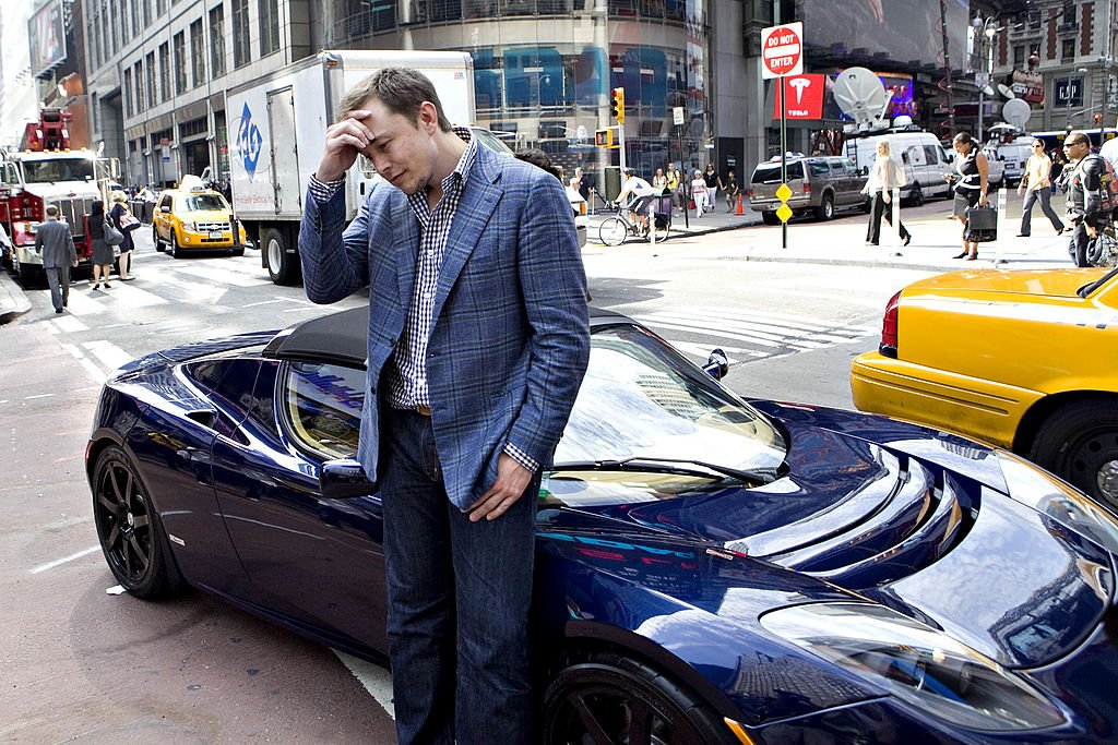 Elon Musk, chairman and chief executive officer of Tesla Motors, stands for a portrait outside the Nasdaq Marketsite in New York, U.S., on Tuesday, June 29, 2010.