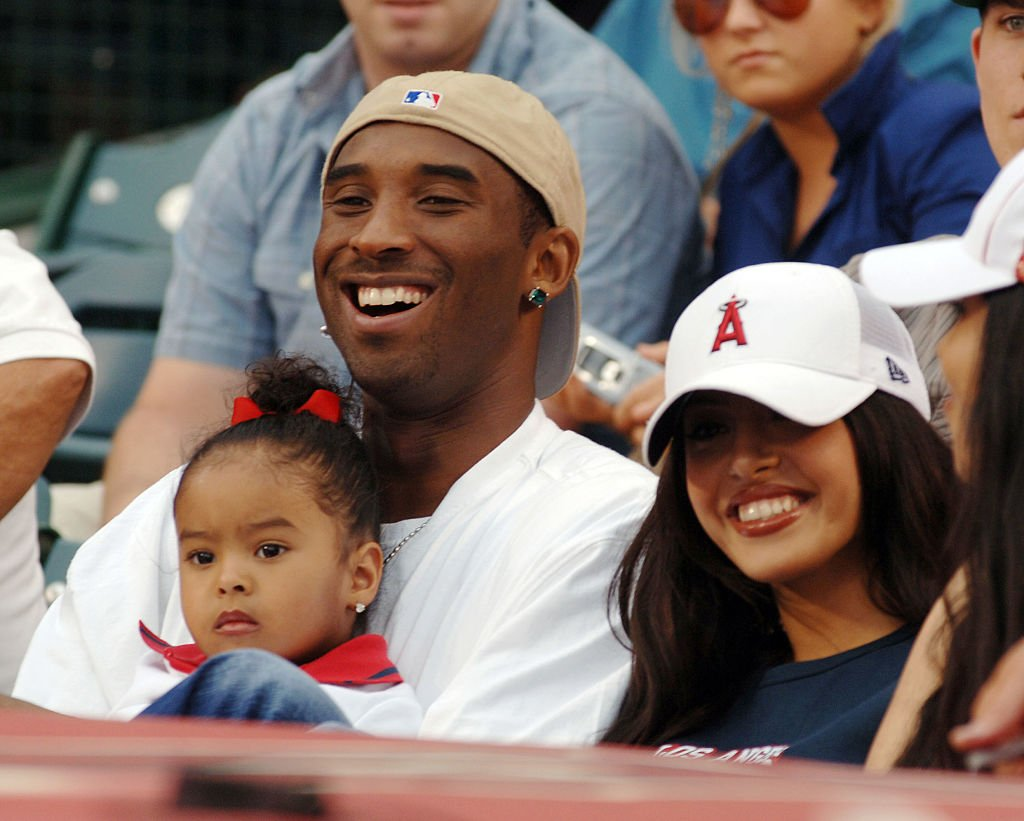 Image Credit: Getty Images / Kobe Bryant of the Los Angeles Lakers with his family during New York Yankees game against the Los Angeles Angels at Angel Stadium in Anaheim, CA.