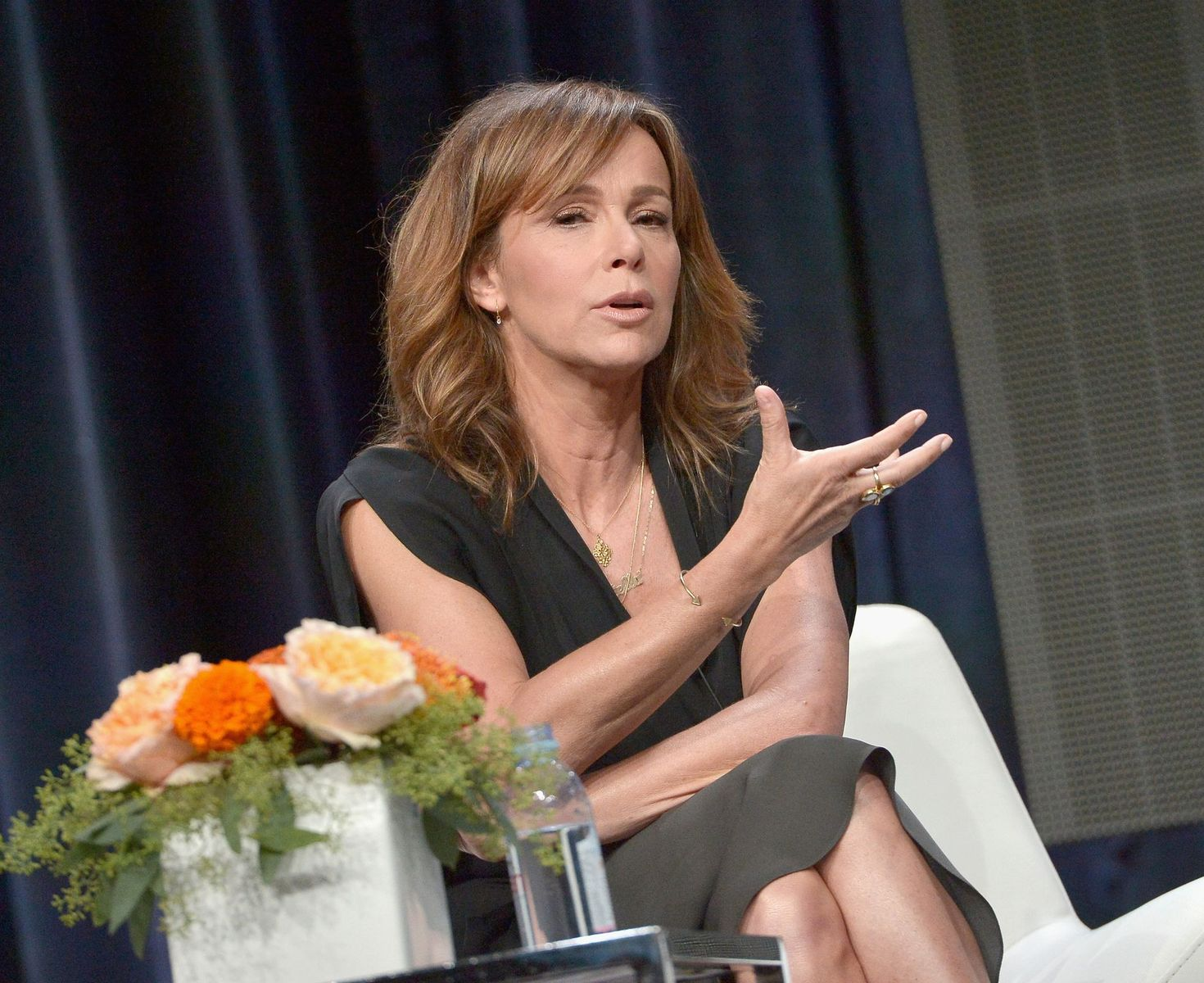 Jennifer Grey speaks onstage during the 'Red Oaks' panel discussion at the Amazon Studios portion of the 2015 Summer TCA Tour on August 3, 2015 in Beverly Hills, California. (Photo by Charley Gallay/Getty Images for Amazon Studios)