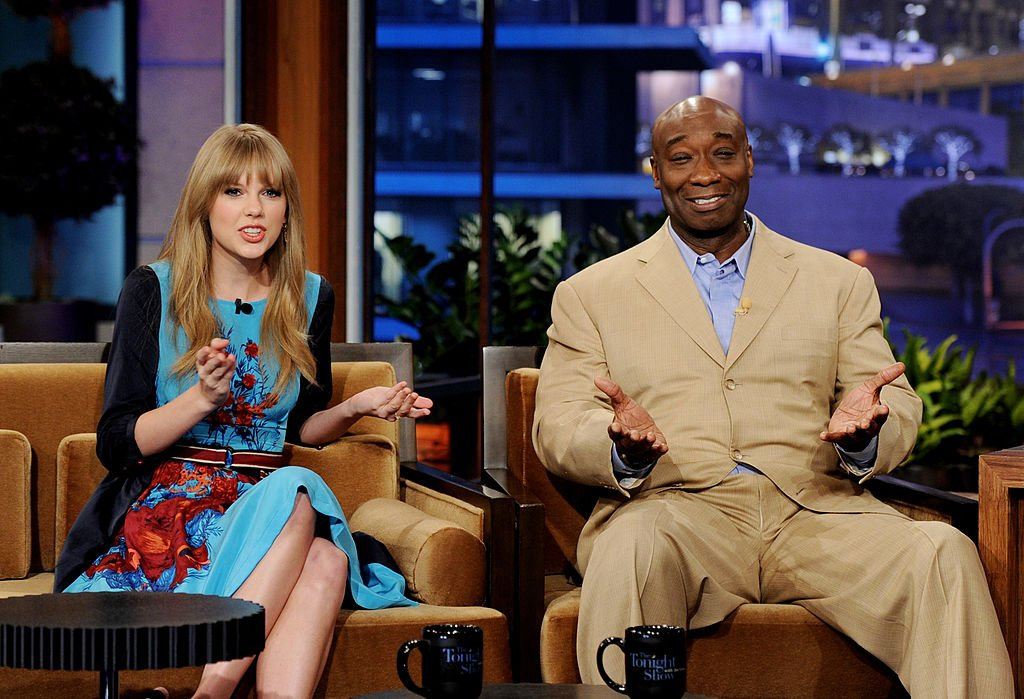 Image Credit: Getty Images / Singer Taylor Swift (L) and actor Michael Clarke Duncan appear on the Tonight Show With Jay Leno. at NBC Studios on February 20, 2012 in Burbank, California.