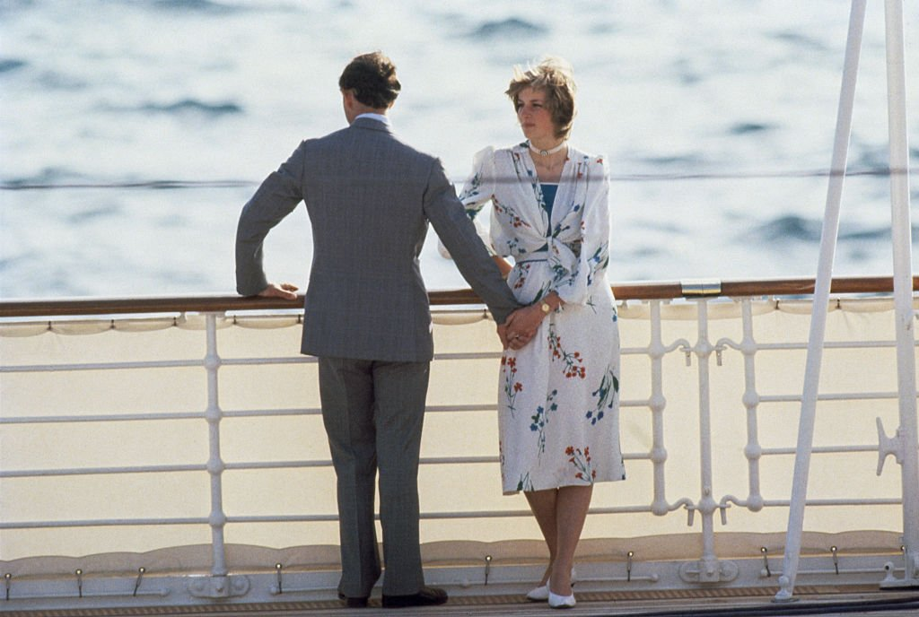 Image Source: Getty Images/Tim Graham/The Prince and Princess of Wales leave Gibraltar on the Royal Yacht Britannia for their honeymoon cruise, 1st August 1981